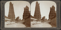 Inconceivable elaboration and splendour of Madura's Hindu temple - two of its nine pagodas